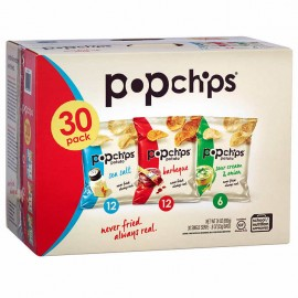 Popchips Potato Chips, Variety Pack, 0.8 oz, 30-count